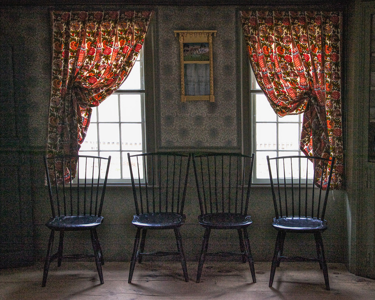 Colonial Era Daily Life:  Interior with Wooden Chairs and Curtains. Parsonage, c. 1748. Old Sturbridge Village, Worcester County, Massachusetts