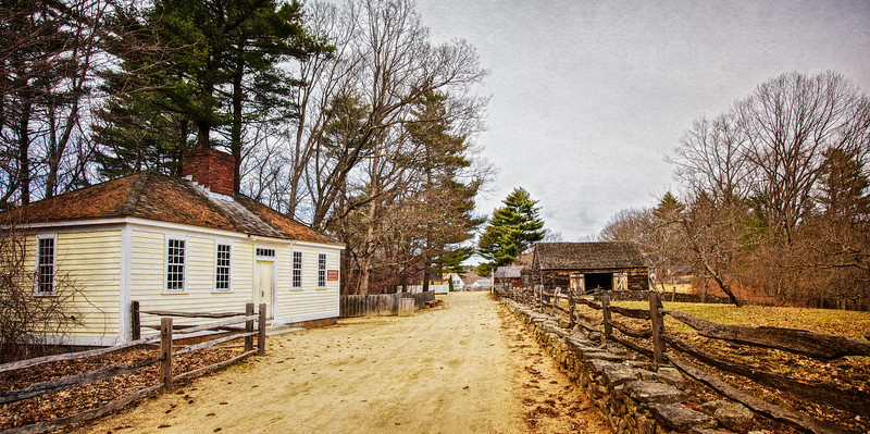 Colonial Era Architecture: Worcester Printing Office, c. 1780 and Cider House. Old Sturbridge Village, Worcester County, Massachusetts