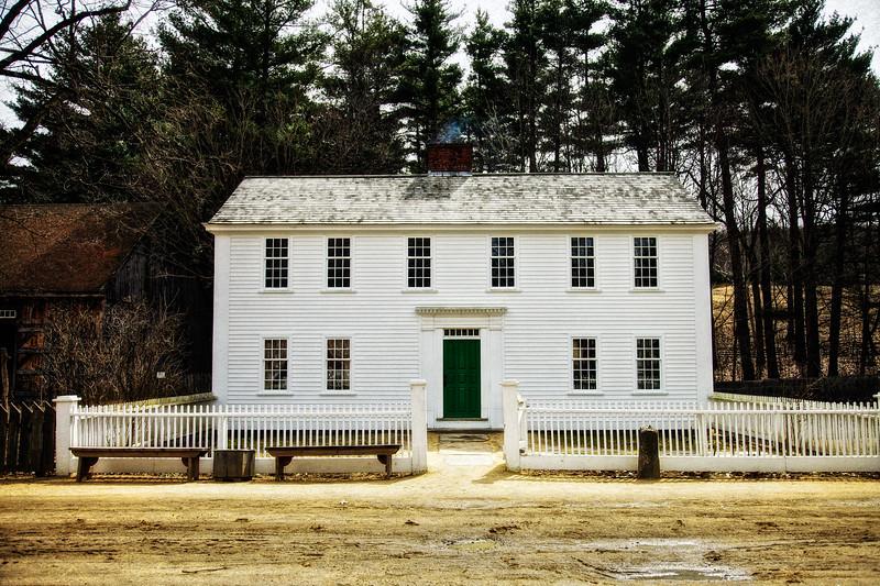 Colonial Era Architecture:  Parsonage and White Picket Fence, c. 1748. Old Sturbridge Village, Worcester County, Massachusetts