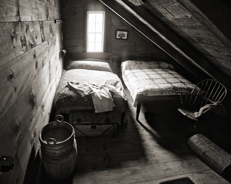 Colonial Era Daily Life:  Attic Bedroom with Two Beds. Parsonage, c. 1748. Old Sturbridge Village, Worcester County, Massachusetts