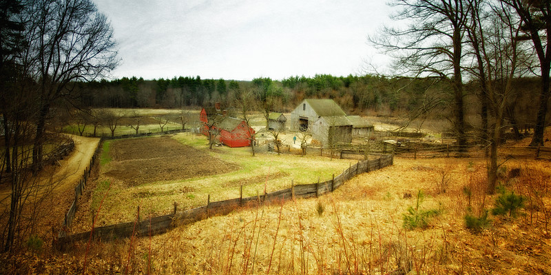 Nineteenth Century Daily Life:  Farmhouse, Barns and Fields from the Hill. Freeman Farm, c. 1800-1810. Old Sturbridge Village, Worcester County, Massachusetts