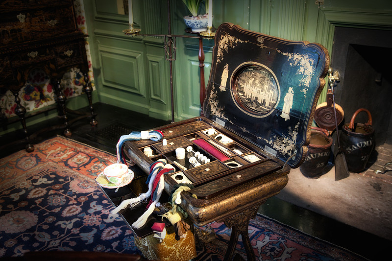 Colonial Era Architecture:  Chinese Game Box in the Parlor, The House of Seven Gables, Turner-Ingersoll Mansion, Salem, Essex County, Massachusetts