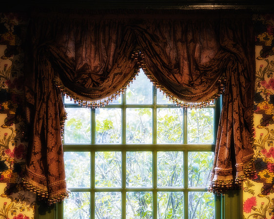 Colonial Era Architecture:  Parlor Curtains, The House of Seven Gables, Turner-Ingersoll Mansion, Salem, Essex County, Massachusetts
