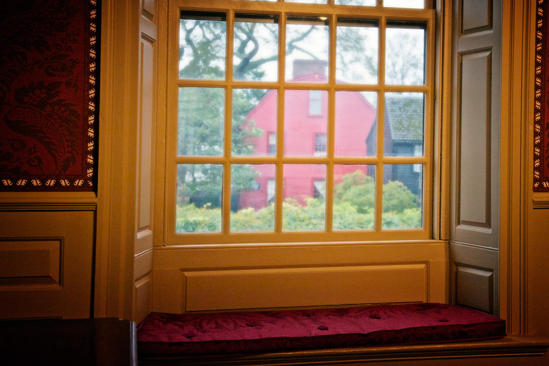 Colonial Era Architecture: View of Nathaniel Hawthorne's Birthplace from Bedroom Window, The House of Seven Gables, Turner-Ingersoll Mansion, Salem, Essex County, Massachusetts