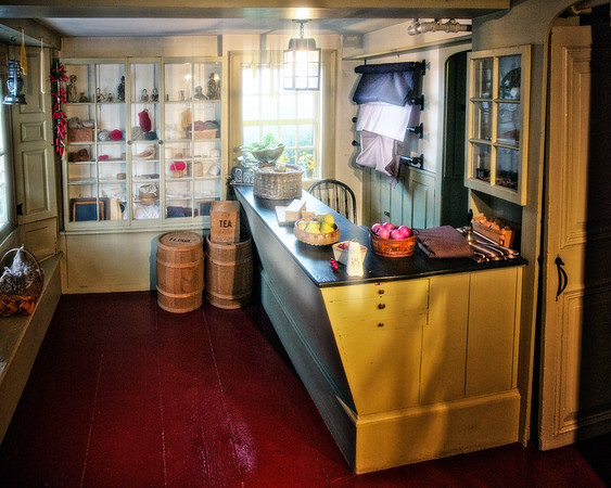 Colonial Era Architecture: Interior of the Cent Shop of Hepzibah Pincheon at the House of the Seven Gables, Salem, Essex County, Massachusetts