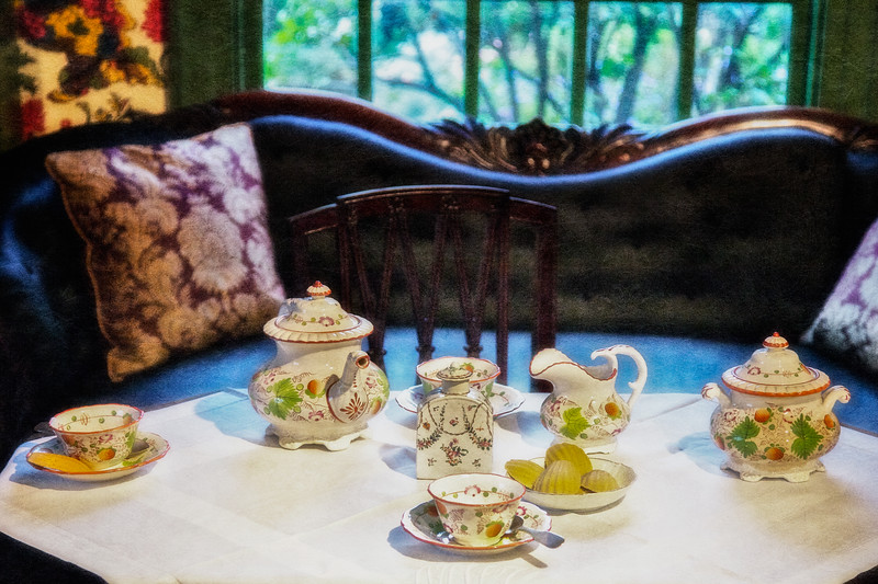 Colonial Era Architecture: Tea Setting in the Parlor at the House of the Seven Gables, Salem, Essex County, Massachusetts