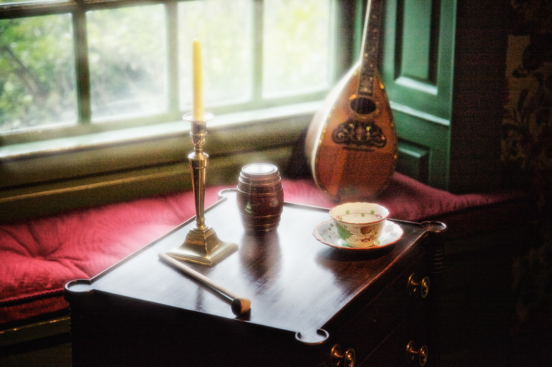 Colonial Era Architecture:  Clay Pipe, Candleholder, Tea Cup and Mandolin, The House of Seven Gables, Turner-Ingersoll Mansion, Salem, Essex County, Massachusetts