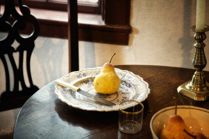 Salem Landmarks: Front Parlor-Plate with Pear, Nathaniel Hawthorne's Birthplace