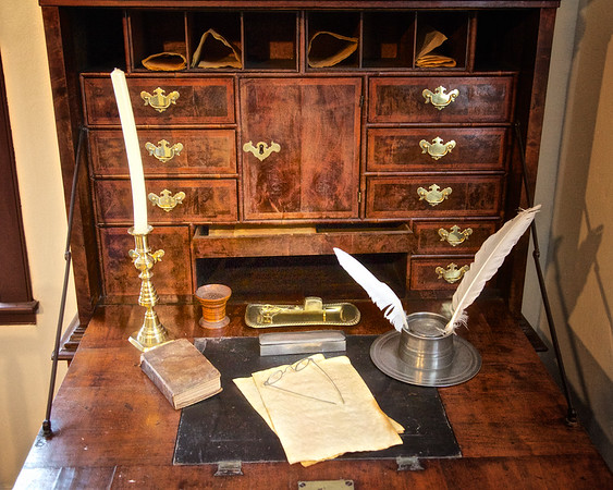 Salem Landmarks: Detail of Fall front sea captain's desk, Nathaniel Hawthorne's Birthplace