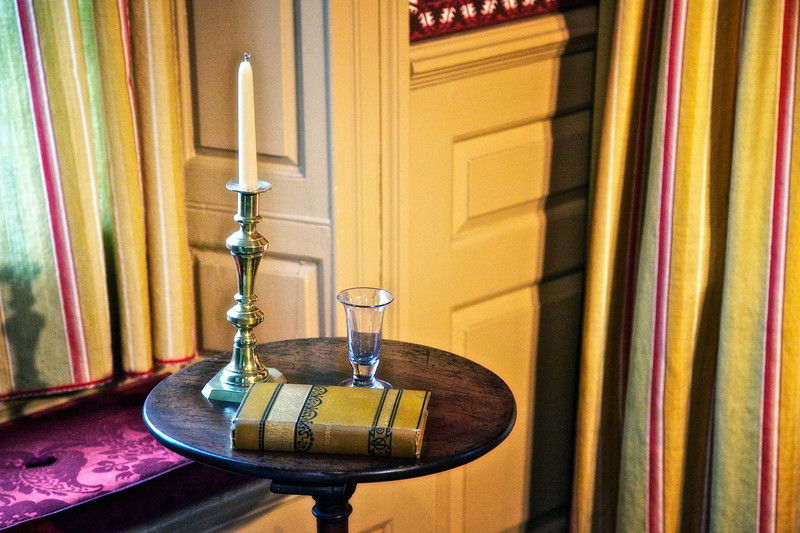 Colonial Era Architecture: Book, Candlestick and Glass, The House of Seven Gables, Turner-Ingersoll Mansion, Salem, Essex County, Massachusetts