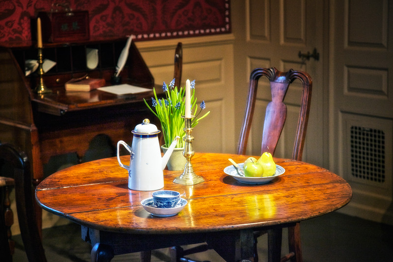 Colonial Era Architecture: Pears, Candlestick and Coffee Pot in the Parlor, The House of Seven Gables, Turner-Ingersoll Mansion, Salem, Essex County, Massachusetts
