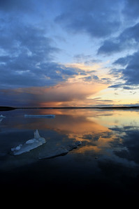 Sunset on Karrak Lake, Arctic Canada.