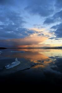 Sunset on Karrak Lake, Arctic Canada.