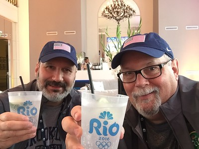 Joe and Ed relaxing with a cool gin and tonic.