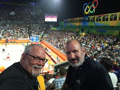 Joe and Ed at Men's Beach Volleyball.
