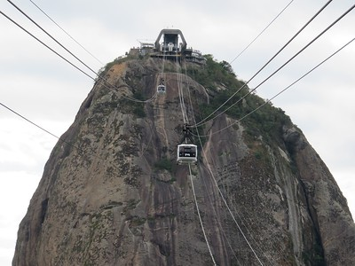 Taking the cable car up to Sugarloaf Mountain