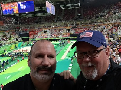 Joe and Ed at the Women's Gymnastics Team Final