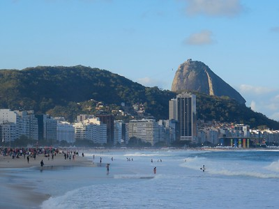 View of Sugarloaf Mountain from Copacabana Beach