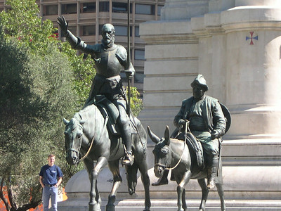 Statue of Don Quixote and Sancho Panza, commemorating Miguel de Cervantes' Man of La Mancha (written in 1605)