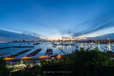 A Morning at Bali Hai Pier, Pattaya Bay, Chonburi view from the RCG Suite, Pattaya