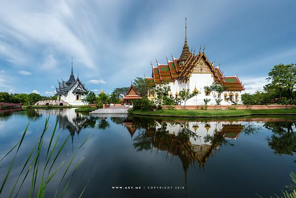 Sanphet Prasat Throne Hall and Dusit Maha Prasat Throne Hall at the Ancient Siam, Samut Prakan