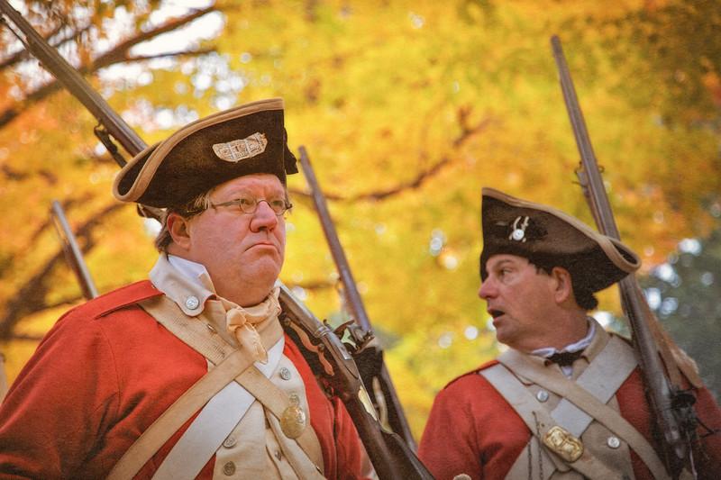 Two British Infantrymen in Costume. Burning of Kingston Revolutionary War Reenactment, Kingston, Ulster County, New York