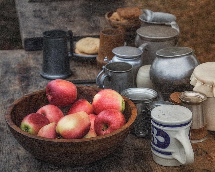 Colonial Era Mugs and Apples. Burning of Kingston Revolutionary War Reenactment, Kingston, Ulster County, New York