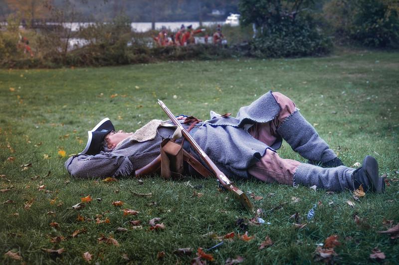 Dead Colonial Soldier on the Battlefield. Burning of Kingston Revolutionary War Reenactment, Kingston, Ulster County, New York