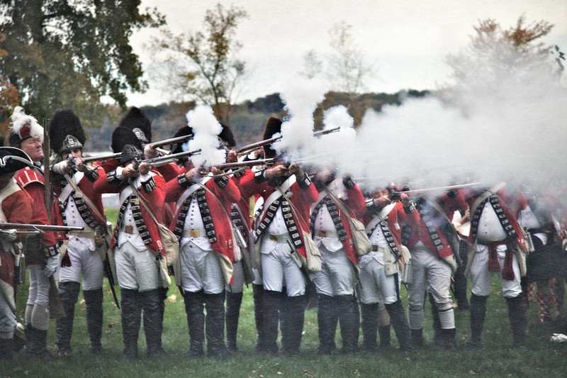 Redcoated British Line Firing A Volley. Burning of Kingston Revolutionary War Reenactment, Kingston, Ulster County, New York