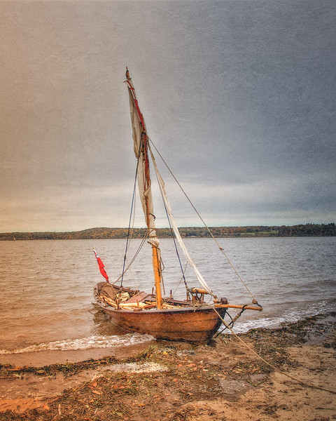 British Masted Gunboat on the Hudson River. Burning of Kingston Revolutionary War Reenactment, Kingston, Ulster County, New York