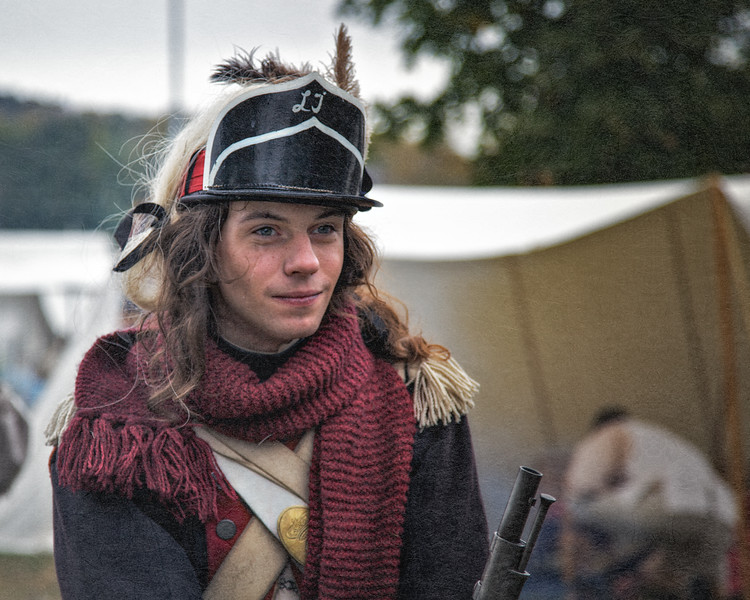 Colonial Reenactor with Neck Scarf. Burning of Kingston Revolutionary War Reenactment, Kingston, Ulster County, New York