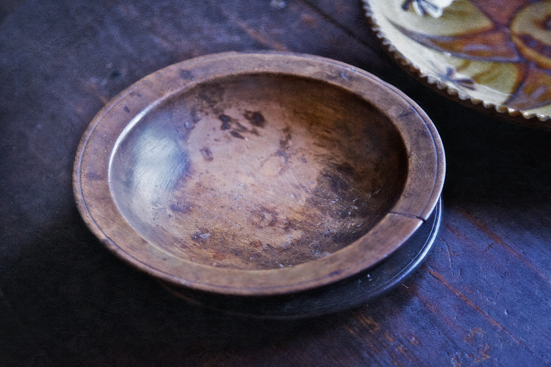 Colonial Era Daily Life: Wooden Dinner Bowl. Philipsburg Manor, Sleepy Hollow, North Tarrytown, Westchester County, New York