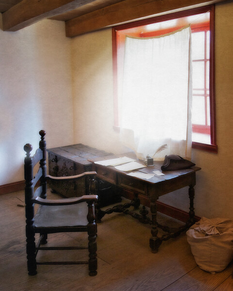 Colonial Era Daily Life: Desk, Chair, Writing Instruments and Tricorner Hat. Philipsburg Manor, Sleepy Hollow, North Tarrytown, Westchester County, New York