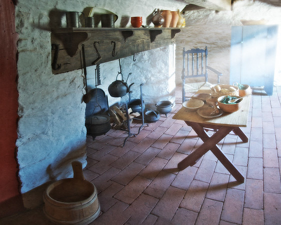 Colonial Era Daily Life: Kitchen Hearth, Table, Chair Tools and Gourd Bowls. Philipsburg Manor, Sleepy Hollow, North Tarrytown, Westchester County, New York