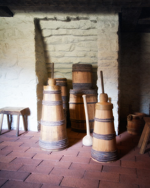 Colonial Era Daily Life: Butter Churns in the Kitchen. Philipsburg Manor, Sleepy Hollow, North Tarrytown, Westchester County, New York
