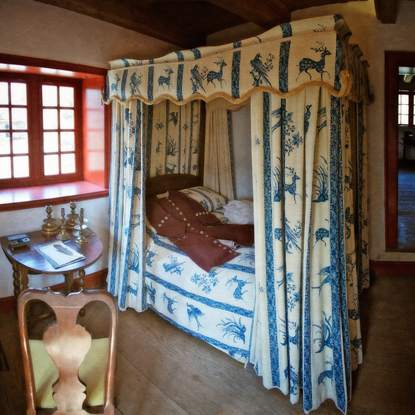 Colonial Era Daily Life: Bed Curtains, Bed and Frock Coat. Philipsburg Manor, Sleepy Hollow, North Tarrytown, Westchester County, New York