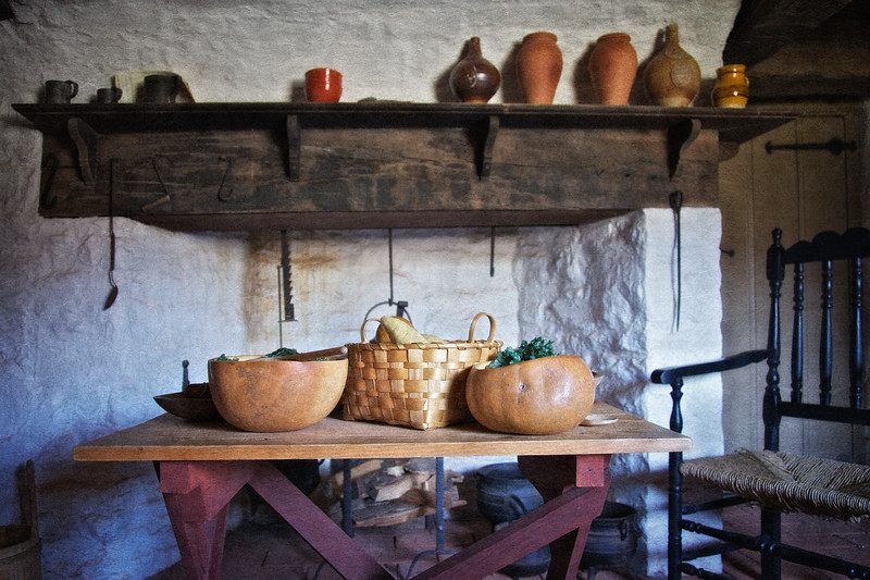 Colonial Era Daily Life: Kitchen Hearth and Gourd Bowls. Philipsburg Manor, Sleepy Hollow, North Tarrytown, Westchester County, New York