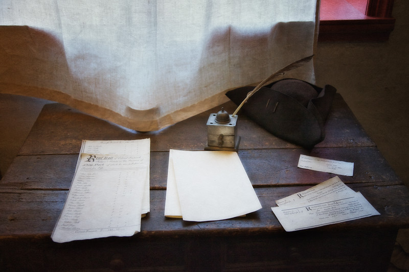 Colonial Era Daily Life: Writing Instruments and Tricorner Hat. Philipsburg Manor, Sleepy Hollow, North Tarrytown, Westchester County, New York