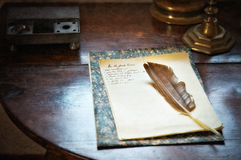 Colonial Era Daily Life: Quill, Paper and Inventory. Philipsburg Manor, Sleepy Hollow, North Tarrytown, Westchester County, New York