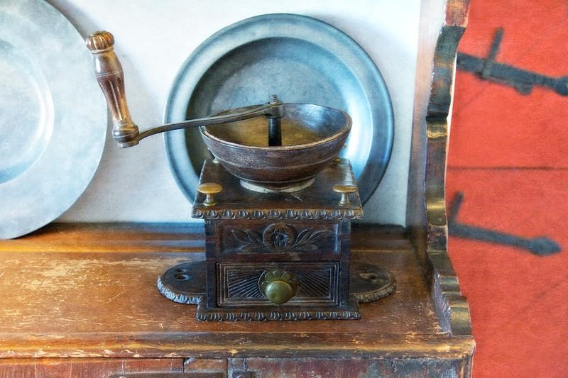 Colonial Era Daily Life: Coffee Grinder. Philipsburg Manor, Sleepy Hollow, North Tarrytown, Westchester County, New York