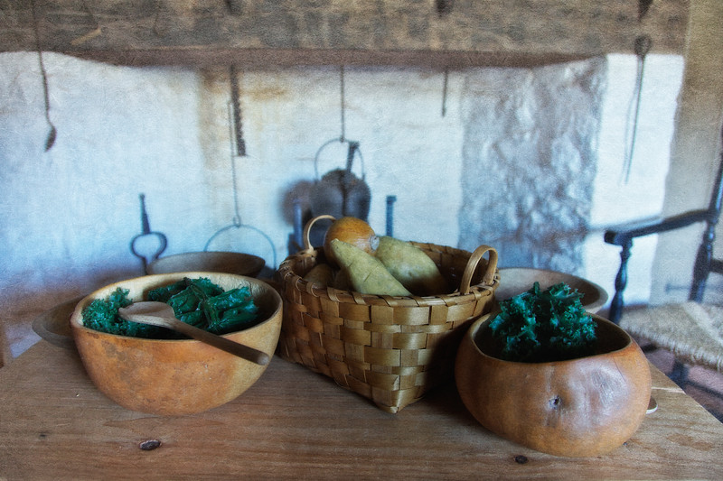 Colonial Era Daily Life: Kitchen Heart and Gourd Bowls With Produce. Philipsburg Manor, Sleepy Hollow, North Tarrytown, Westchester County, New York