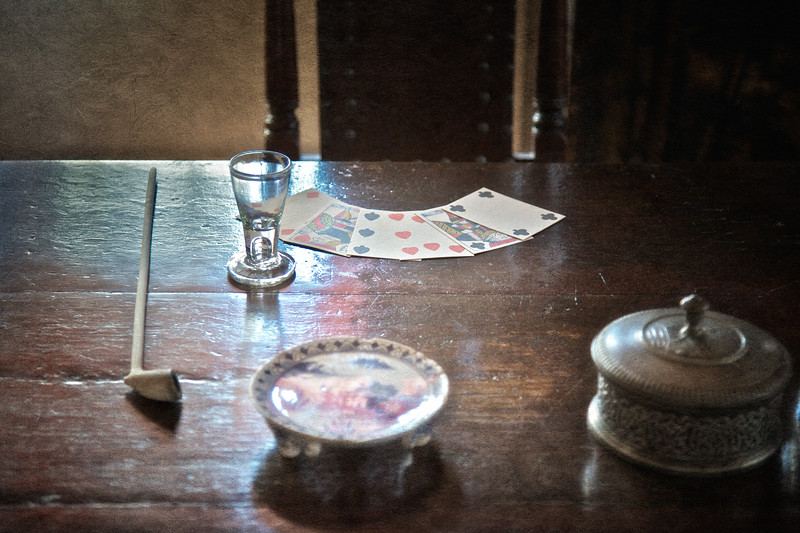 Colonial Era Daily Life: Playing Cards, Clay Pipe and Shot Glass. Philipsburg Manor, Sleepy Hollow, North Tarrytown, Westchester County, New York