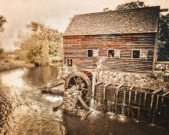 Colonial Era Architecture: Water Mill, Philipsburg Manor, Sleepy Hollow, North Tarrytown, Westchester County, New York