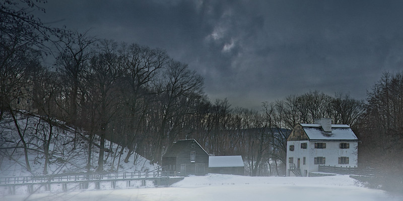 Philipsburg Manor House and Mill Pond in Winter
