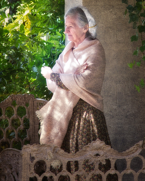 Female Guide in Colonial Costume at Sunnyside, formerly Wolfert's Roost, Home of Washington Irving, Irvington, Westchester County, New York