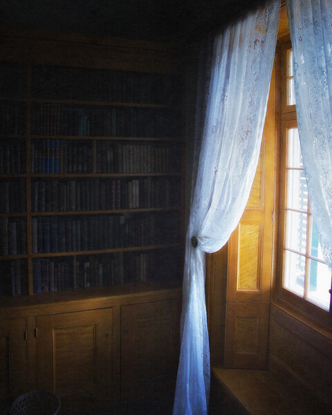 Bookshelf in Washington Irving's Study, Sunnyside, formerly Wolfert's Roost, Home of Washington Irving, Irvington, Westchester County, New York
