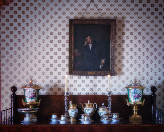 Portrait of Washington Irving and Sideboard in the Dining Room of Sunnyside, formerly Wolfert's Roost, Home of Washington Irving, Irvington, Westchester County, New York
