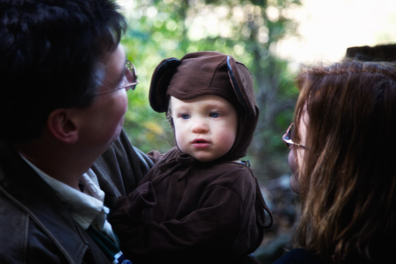 Infant in Bear Costume and Parents at Legend Weekend at Sunnyside, formerly Wolfert's Roost, Home of Washington Irving, Irvington, Westchester County, New York