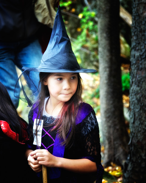 Little Girl In Witch's Costume at Legend Weekend, Sunnyside, formerly Wolfert's Roost, Home of Washington Irving, Irvington, Westchester County, New York