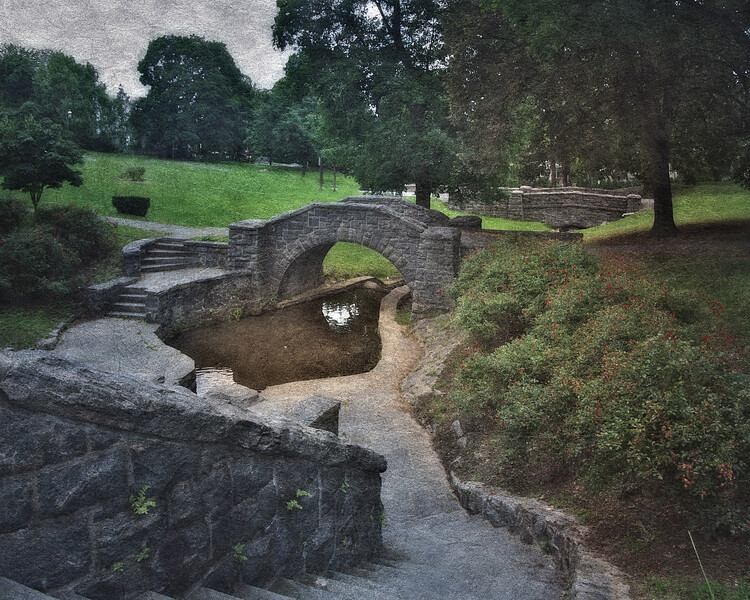 Legend of Sleepy Hollow Setting: Wiley's Swamp, Andre Brook in Patriots Park at Dusk, Tarrytown, Westchester County, New York